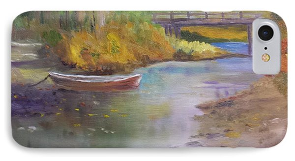 Boat And Bridge IPhone Case by Larry Hamilton