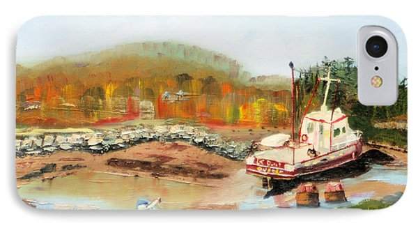 IPhone Case featuring the painting Boat At Bic Quebec by Michael Daniels
