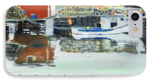 IPhone Case featuring the painting Boat At Louisburg Ns by Michael Daniels