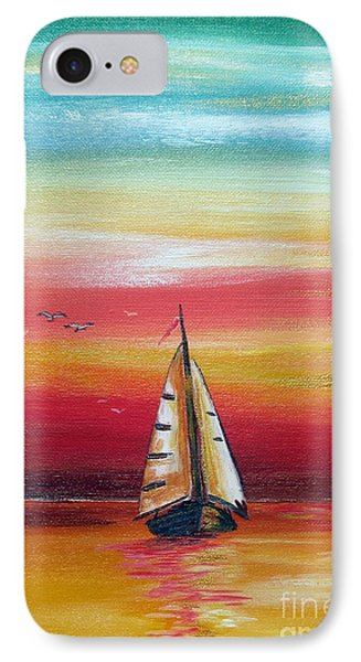 IPhone Case featuring the painting Boat At Sunset On The Indian Ocean by Roberto Gagliardi