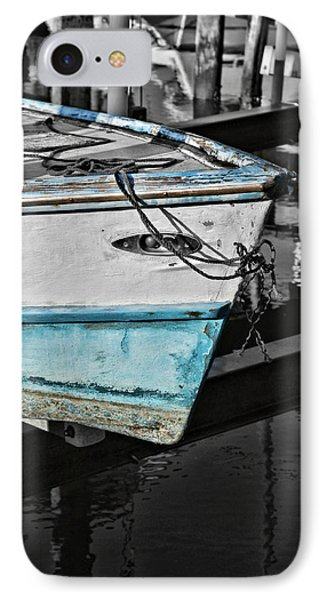 Boat Bow In Black White And Blue Phone Case by Lynn Jordan