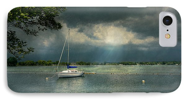 Boat - Canandaigua Ny - Tranquility Before The Storm IPhone Case by Mike Savad
