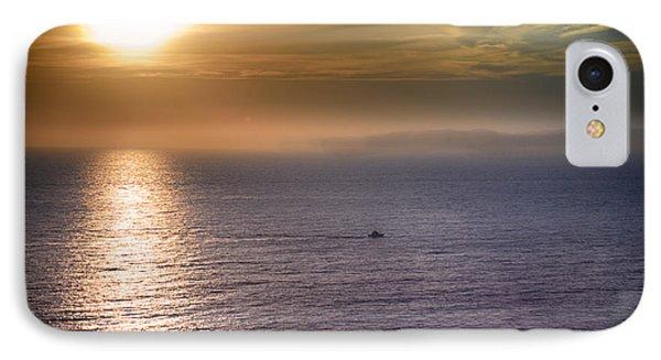 Boat Crossing Sun Beam IPhone Case by Joseph Hollingsworth