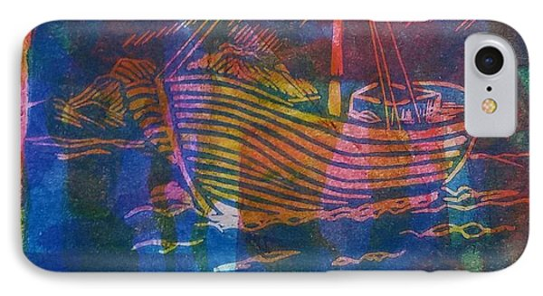 Boat In Blue IPhone Case by Cynthia Lagoudakis