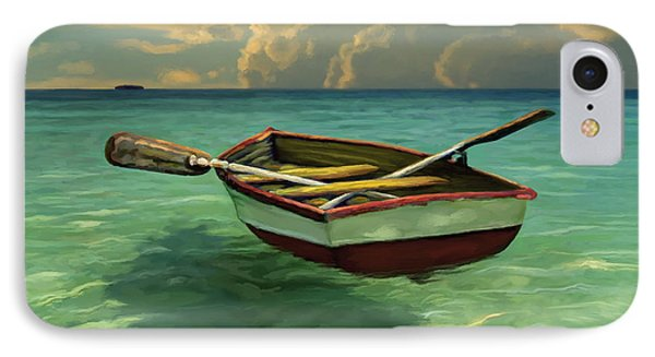 Boat In Clear Water IPhone Case by David  Van Hulst