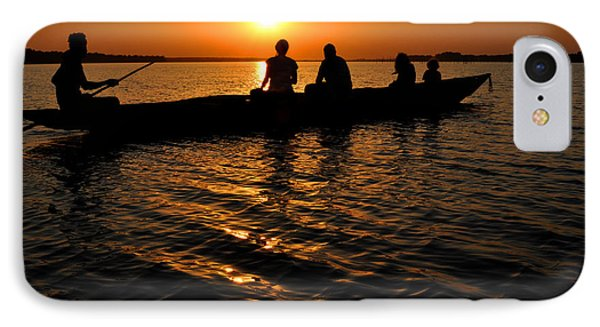 Boat In Sunset On Chilika Lake India IPhone Case by Diane Lent