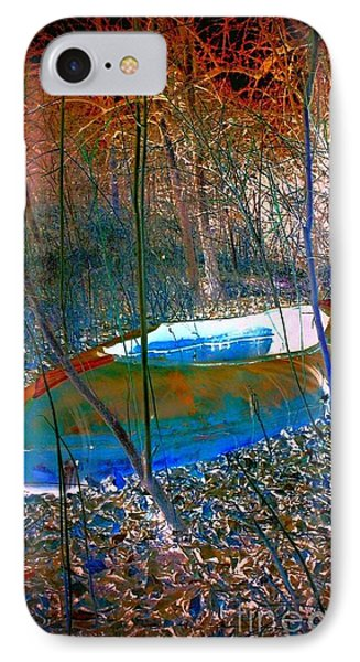 IPhone Case featuring the photograph Boat In The Woods by Karen Newell