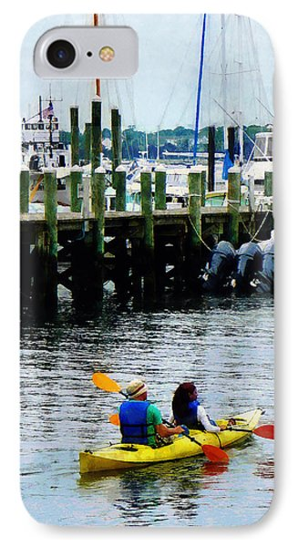 Boat - Kayaking In Newport Ri IPhone Case by Susan Savad