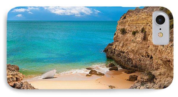 Boat On Beach Algarve Portugal Phone Case by Amanda Elwell