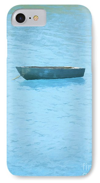 Boat On Blue Lake Phone Case by Pixel Chimp
