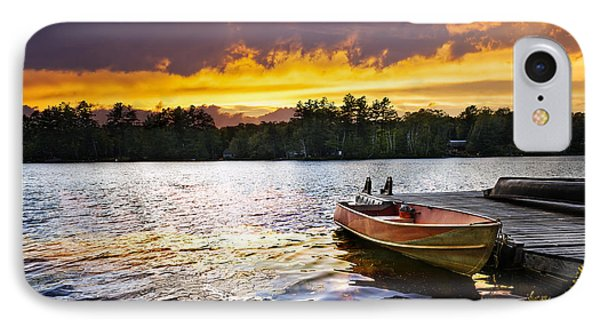 Boat On Lake At Sunset IPhone Case by Elena Elisseeva