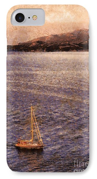 Boat On Ocean At Dusk IPhone Case