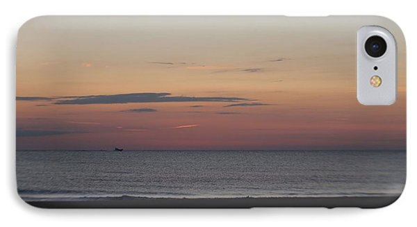 IPhone Case featuring the photograph Boat On The Horizon At Sunrise by Robert Banach