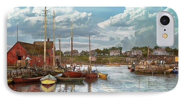 Boat - Rockport Mass - Motif Number One - 1906 IPhone Case by Mike Savad