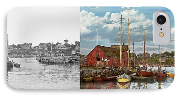 Boat - Rockport Mass - Motif Number One - 1906 - Side By Side IPhone Case by Mike Savad