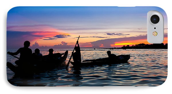 Boat Silhouettes Angkor Cambodia IPhone Case by Fototrav Print