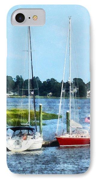 Boat - Two Docked Sailboats Norwalk Ct Phone Case by Susan Savad