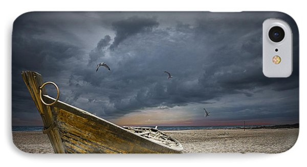 Boat With Gulls On The Beach With Oncoming Storm IPhone Case by Randall Nyhof