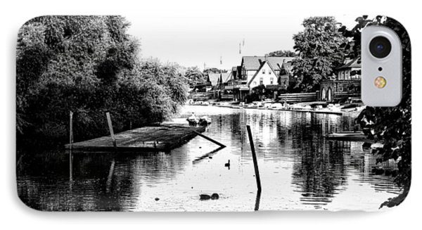 Boathouse Row Lagoon In Black And White Phone Case by Bill Cannon