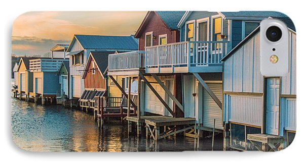 Boathouses In The Golden Hour IPhone Case by Lou Cardinale