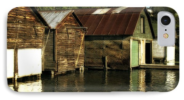 Boathouses On The River Phone Case by Michelle Calkins