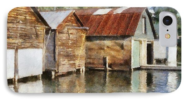 Boathouses On The Torch River Ll Phone Case by Michelle Calkins