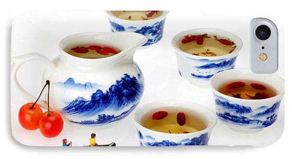 Boating Among China Tea Cups Little People On Food Phone Case by Paul Ge