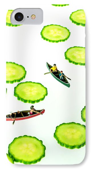 Boating Among Cucumber Slices Miniature Art IPhone Case by Paul Ge