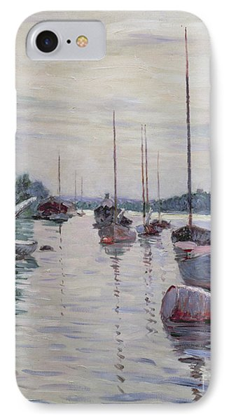 Boats Anchored On The Seine Phone Case by Gustave Caillebotte
