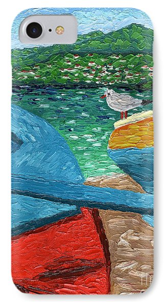 IPhone Case featuring the painting Boats And Bird At Rest by Laura Forde