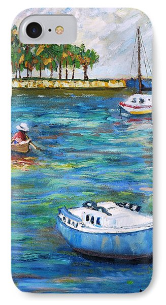 IPhone Case featuring the painting Boats At St Petersburg by Michael Daniels