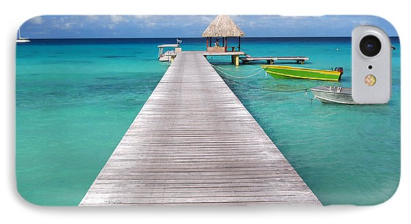 Boats At The Jetty In A Tropical Turquoise Lagoon IPhone Case by IPics Photography