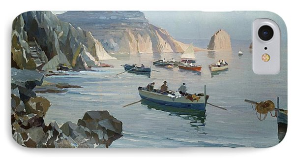 Boats In A Rocky Cove  IPhone Case by Edward Henry Potthast