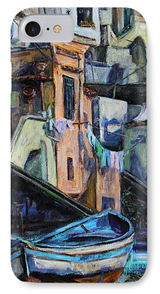Boats In Front Of The Buildings I  IPhone Case by Xueling Zou