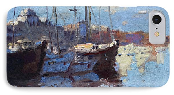 Boats In Mandraki Rhodes Greece  IPhone Case by Ylli Haruni