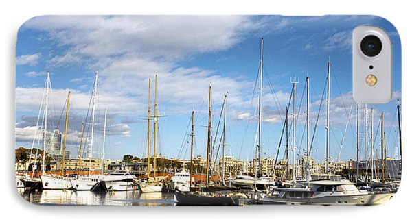 Boats In Port Vell Phone Case by Fabrizio Troiani