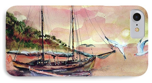 Boats In Sunset  IPhone Case by Faruk Koksal
