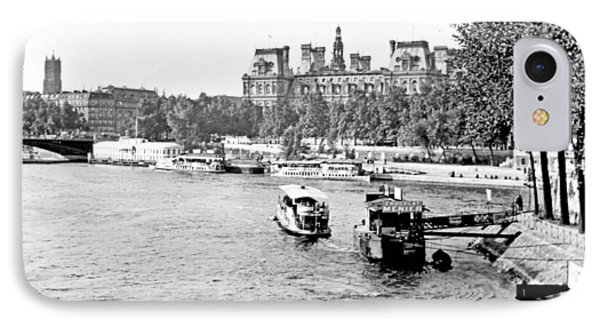 IPhone Case featuring the photograph Boats In The Seine River Paris 1903 Vintage Photograph by A Gurmankin