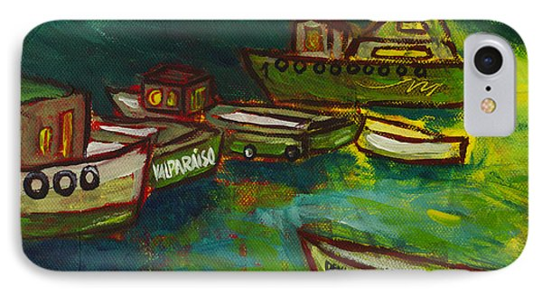 Boats In Valparaiso IPhone Case by Rafael Fischer