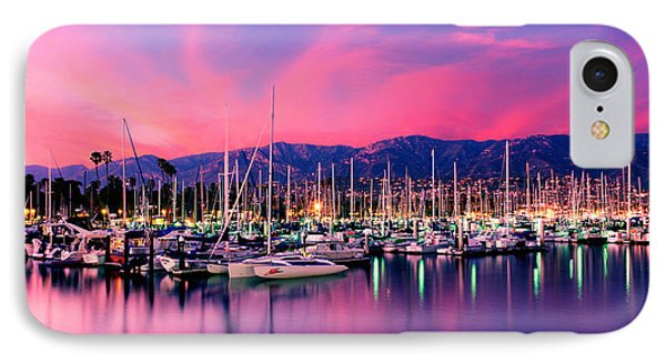 Boats Moored In Harbor At Sunset, Santa IPhone Case
