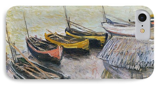 Boats On The Beach IPhone Case by Claude Monet