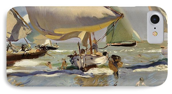 Boats On The Shore IPhone Case by Joaquin Sorolla y Bastida