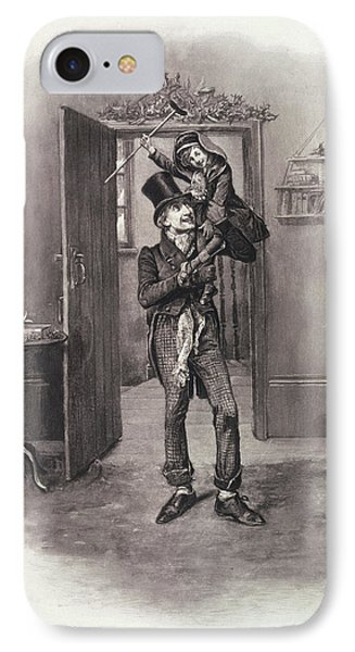 Bob Cratchit And Tiny Tim IPhone Case by Frederick Barnard