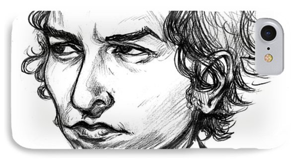 IPhone Case featuring the drawing Bob Dylan Sketch Portrait by John Ashton Golden