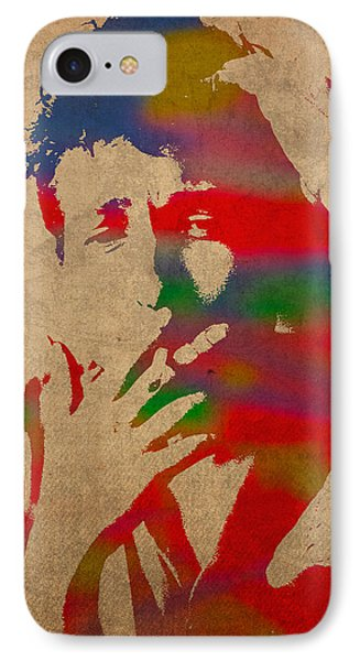 Bob Dylan Watercolor Portrait On Worn Distressed Canvas IPhone 7 Case by Design Turnpike