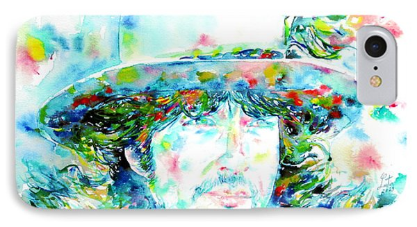 Bob Dylan - Watercolor Portrait.2 Phone Case by Fabrizio Cassetta