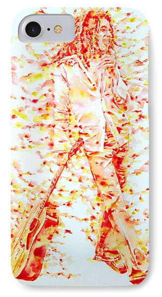 Bob Marley And Guitar - Watercolor Portrait IPhone Case