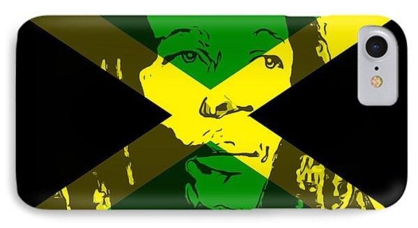 Bob Marley On Jamaican Flag IPhone Case