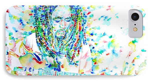 Bob Marley Playing The Guitar - Watercolor Portarit IPhone Case