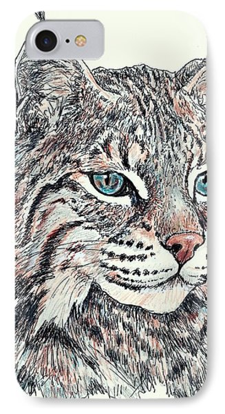 IPhone Case featuring the drawing Bobcat Portrait by VLee Watson